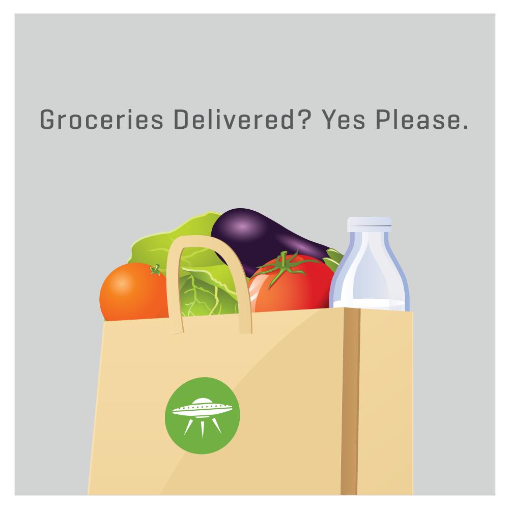 Compras de supermercado entregues na porta da sua casa.